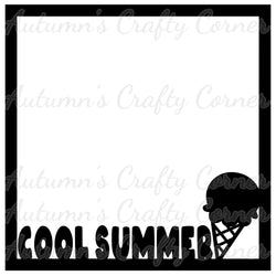 Cool Summer - Ice Cream - Scrapbook Page Overlay Die Cut - Choose a Color