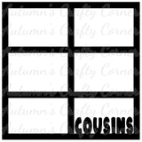 Cousins - 6 Frames - Scrapbook Page Overlay Die Cut - Choose a Color