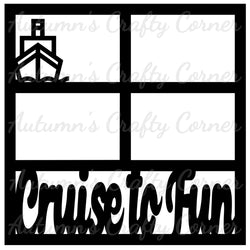 Cruise to Fun - 4 Frames - Scrapbook Page Overlay Die Cut - Choose a Color