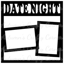Date Night - 2 Frames - Scrapbook Page Overlay Die Cut - Choose a Color
