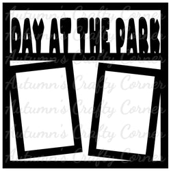 Day at the Park - 2 Vertical Frames - Scrapbook Page Overlay Die Cut - Choose a Color