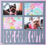 Dog Gone Cute - 4 Frames - Scrapbook Page Overlay Die Cut - Choose a Color