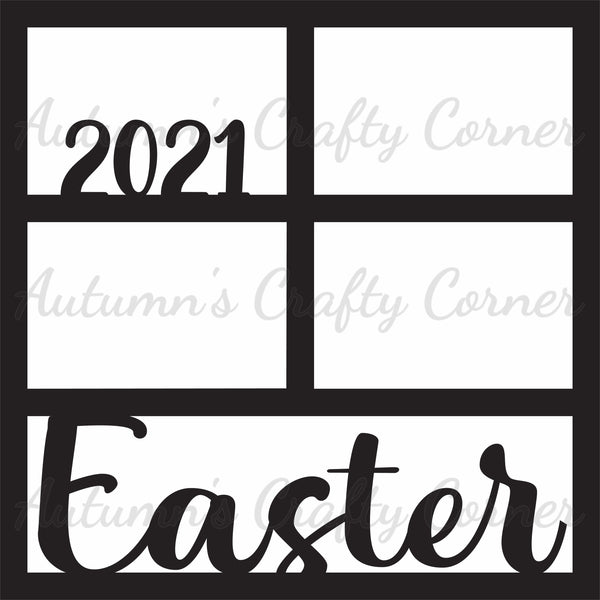 Easter 2021 - 4 Frames - Scrapbook Page Overlay Die Cut - Choose a Color