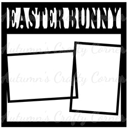 Easter Bunny - 2 Frames - Scrapbook Page Overlay Die Cut - Choose a Color