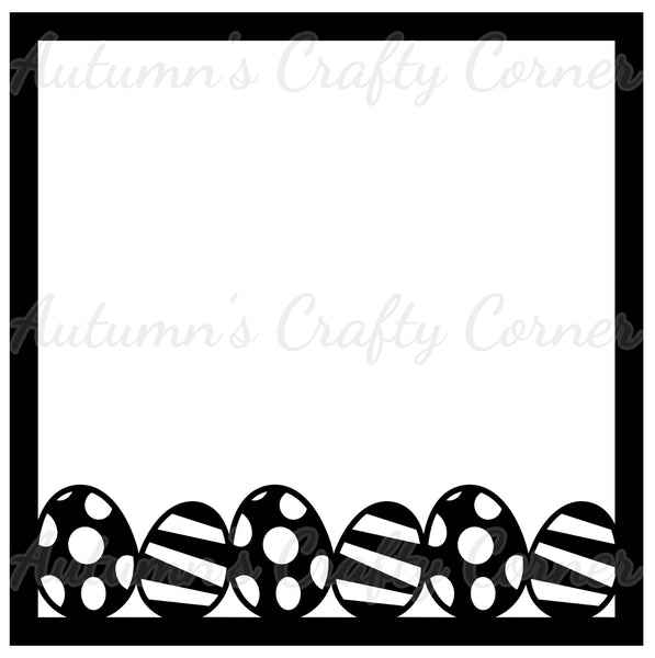 Easter Eggs Border - Scrapbook Page Overlay Die Cut - Choose a Color