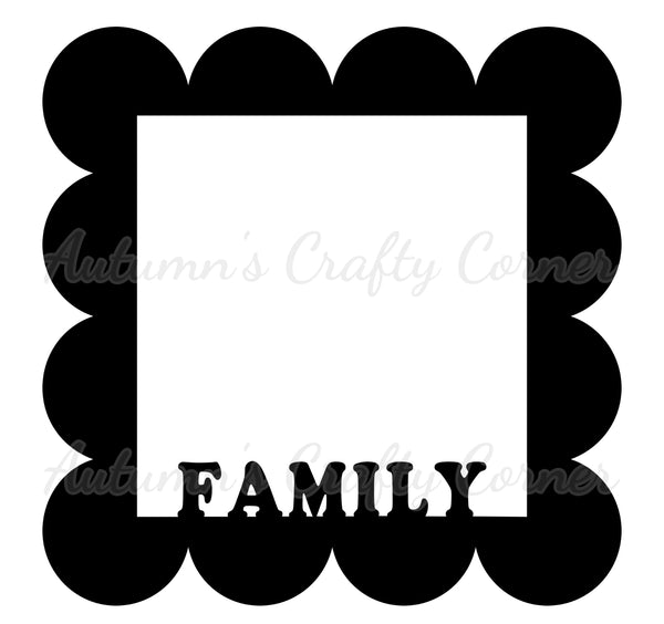 Family - Scalloped Square - Scrapbook Page Overlay Die Cut - Choose a Color