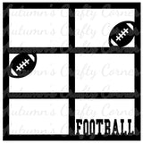 Football - 6 Frames - Scrapbook Page Overlay Die Cut - Choose a Color
