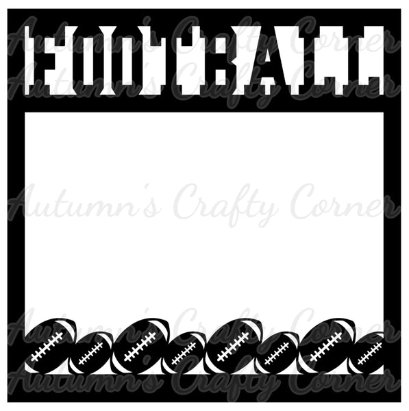 Football - Border - Scrapbook Page Overlay Die Cut - Choose a Color
