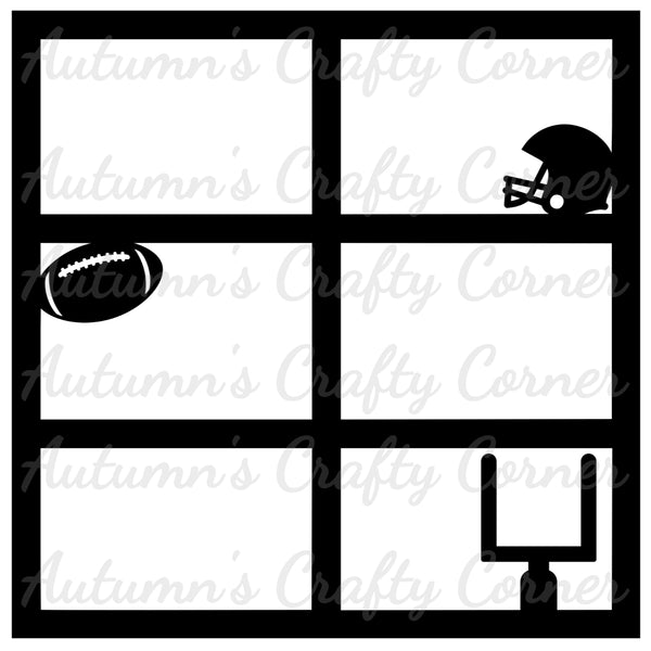 Football Goal, Ball, & Helmet - 6 Frames - Scrapbook Page Overlay Die Cut - Choose a Color