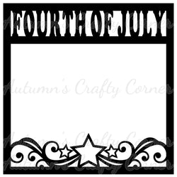 Fourth of July - Flourish Stars - Scrapbook Page Overlay Die Cut - Choose a Color