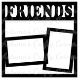 Friends - 2 Frames - Scrapbook Page Overlay Die Cut - Choose a Color