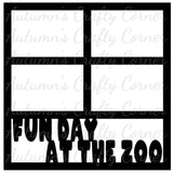 Fun Day at the Zoo - 4 Frames - Scrapbook Page Overlay Die Cut - Choose a Color
