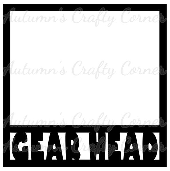 Gear Head - Cars - Scrapbook Page Overlay Die Cut - Choose a Color