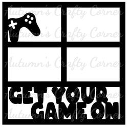 Get Your Game On - 4 Frames - Scrapbook Page Overlay Die Cut - Choose a Color