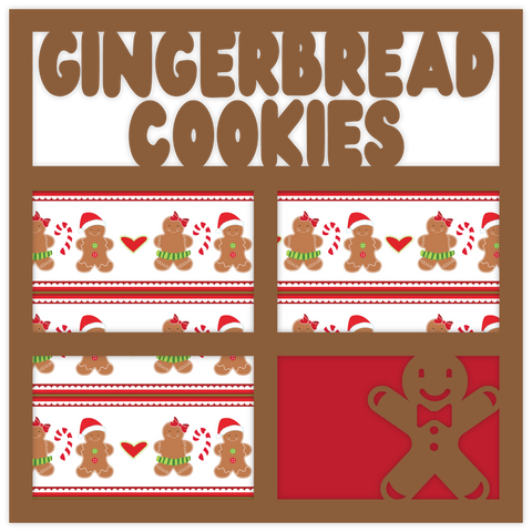 Gingerbread Cookies - Printed Premade Scrapbook Page 12x12 Layout