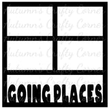 Going Places - 4 Frames - Scrapbook Page Overlay Die Cut - Choose a Color