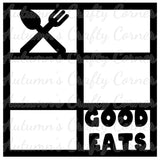 Good Eats - 6 Frames - Scrapbook Page Overlay Die Cut - Choose a Color