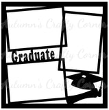 Graduate - 3 Frames - Scrapbook Page Overlay Die Cut - Choose a Color