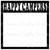 Happy Campers - Scrapbook Page Overlay Die Cut - Choose a Color