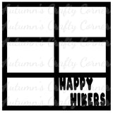 Happy Hikers - 6 Frames - Scrapbook Page Overlay Die Cut - Choose a Color