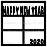 Happy New Year 2020 - 4 Frames - Scrapbook Page Overlay Die Cut - Choose a Color
