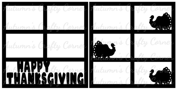Happy Thanksgiving - Scrapbook Page Overlay Set - Choose a Color