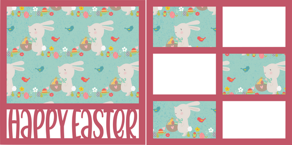 Happy Easter - Printed Premade Scrapbook (2) Page 12x12 Layout