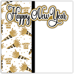 Happy New Year - Printed Premade Scrapbook Page 12x12 Layout