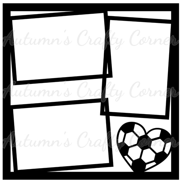 Heart Soccer - 3 Frames - Scrapbook Page Overlay Die Cut - Choose a Color
