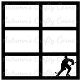 Hockey Player - 6 Frames - Scrapbook Page Overlay Die Cut - Choose a Color