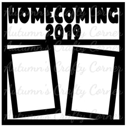 Homecoming 2019 - 2 Vertical Frames - Scrapbook Page Overlay Die Cut - Choose a Color
