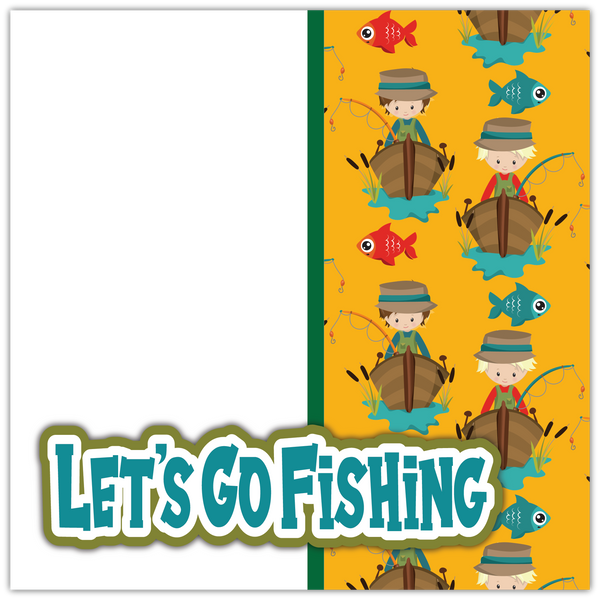 Let's Go Fishing - Printed Premade Scrapbook Page 12x12 Layout