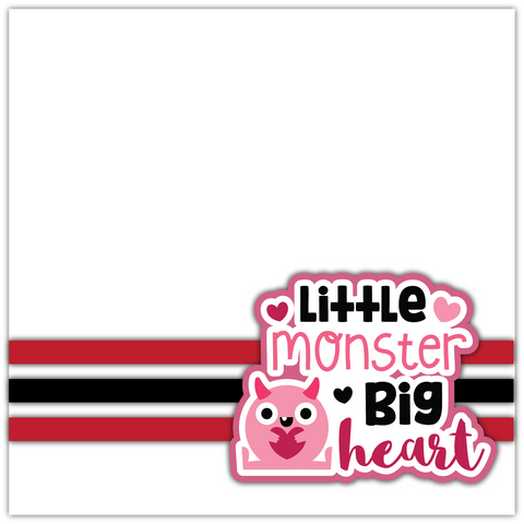 Little Monster Big Heart - Printed Premade Scrapbook Page 12x12 Layout