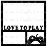 Love to Play - Video Game Controller - Scrapbook Page Overlay Die Cut - Choose a Color