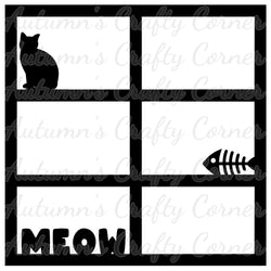 Meow - 6 Frames - Scrapbook Page Overlay Die Cut - Choose a Color