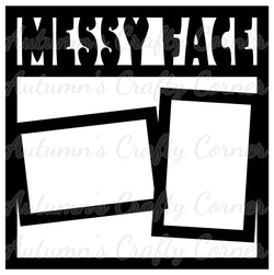 Messy Face - 2 Frames -  Scrapbook Page Overlay Die Cut - Choose a Color