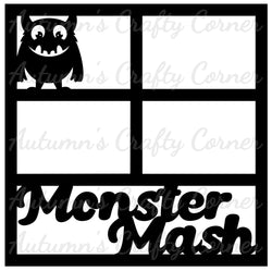 Monster Mash - Halloween - 4 Frames - Scrapbook Page Overlay Die Cut - Choose a Color