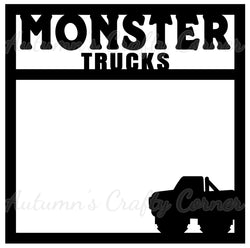 Monster Trucks - Scrapbook Page Overlay Die Cut - Choose a Color