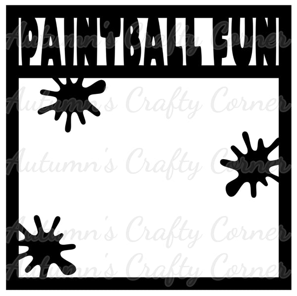 Paintball Fun - Scrapbook Page Overlay Die Cut - Choose a Color