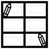 Pencils - 6 Frames - Scrapbook Page Overlay Die Cut - Choose a Color