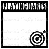 Playing Darts - Scrapbook Page Overlay Die Cut - Choose a Color