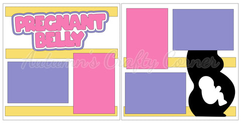 Pregnant Belly - Girl - Scrapbook Page Kit
