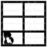 Pregnant Silhouette - 6 Frames - Scrapbook Page Overlay Die Cut - Choose a Color