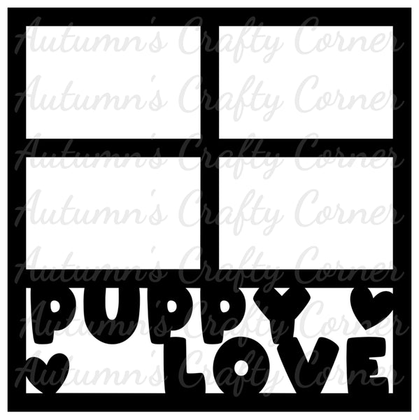 Puppy Love - 4 Frames - Scrapbook Page Overlay Die Cut - Choose a Color