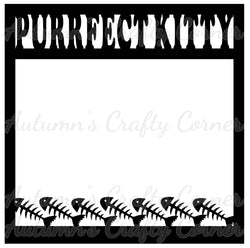 Purrfect Kitty - Fish Border - Scrapbook Page Overlay Die Cut - Choose a Color