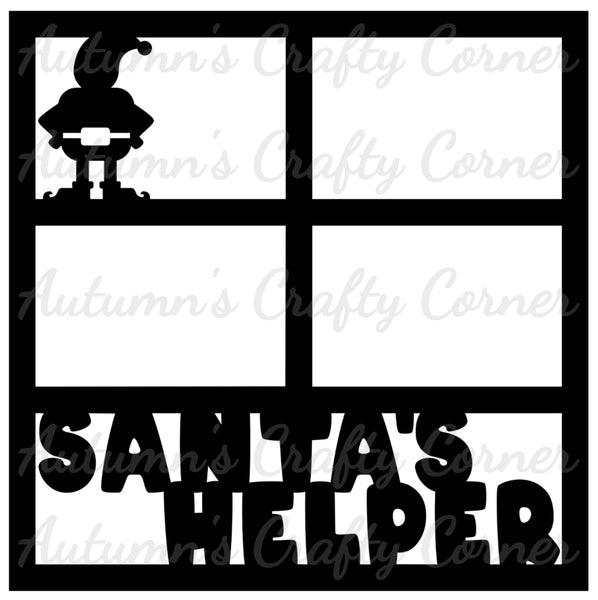 Santa's Helper - 4 Frames - Scrapbook Page Overlay Die Cut - Choose a Color