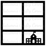 School - 6 Frames - Scrapbook Page Overlay Die Cut - Choose a Color