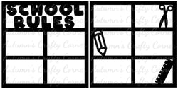 School Rules - Scrapbook Page Overlay Set - Choose a Color