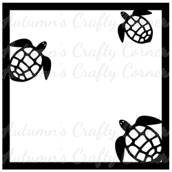 Sea Turtles - Scrapbook Page Overlay Die Cut - Choose a Color