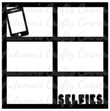 Selfies - 6 Frames - Scrapbook Page Overlay Die Cut - Choose a Color